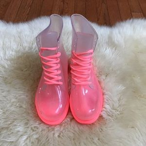 Neon pink clear jelly combat boots